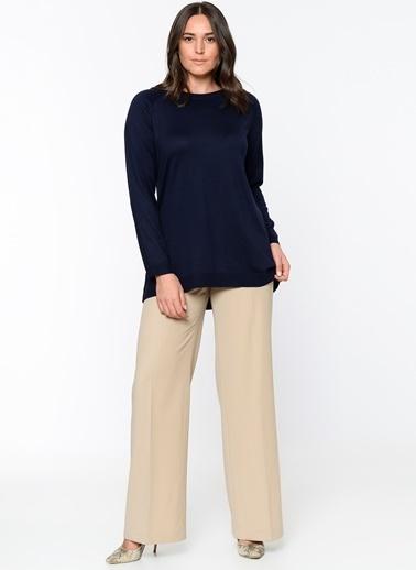 Butik Triko 2316 Basic Bluz Lacivert